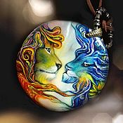 Pendants handmade. Livemaster - original item Rainbow lions is a large mother of pearl pendant - a gift to the Lions. Handmade.