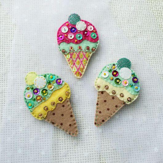 """Броши ручной работы. Ярмарка Мастеров - ручная работа. Купить Брошь """"Мороженое"""". Handmade. Сладость, вкусный подарок, для детей"""