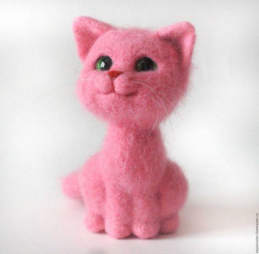 Игрушки животные, ручной работы. Ярмарка Мастеров - ручная работа. Купить Розовая кошечка. Валяная игрушка из шерсти. Handmade. Кот