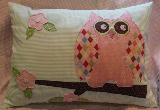 """Текстиль, ковры ручной работы. Ярмарка Мастеров - ручная работа. Купить подушка """"Сова"""" со съемной наволочкой на заказ. Handmade."""