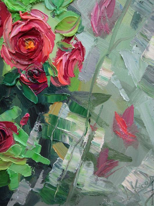 Картины цветов ручной работы. Ярмарка Мастеров - ручная работа. Купить Картина маслом Красные розы. Handmade. Картина, изумрудный