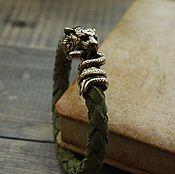 Украшения handmade. Livemaster - original item Bracelets leather Tiger struggling with a snake. Handmade.