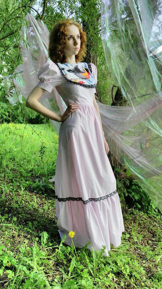 """Платья ручной работы. Ярмарка Мастеров - ручная работа. Купить Платье """"Снегирь"""" на розовом. Handmade. Комбинированный, Розовое платье, снегирь"""