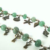 Bead bracelet handmade. Livemaster - original item Bracelet of green aventurine pendants with bronze metal. Handmade.