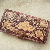 """кошелёк женский кожаный ручной работы """"Нежность"""".кошелёк из натурально"""