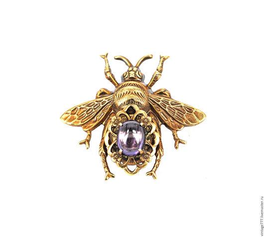 Броши ручной работы. Ярмарка Мастеров - ручная работа. Купить Винтажная брош пчела с камнем, винтажная бижутерия. Handmade. Комбинированный
