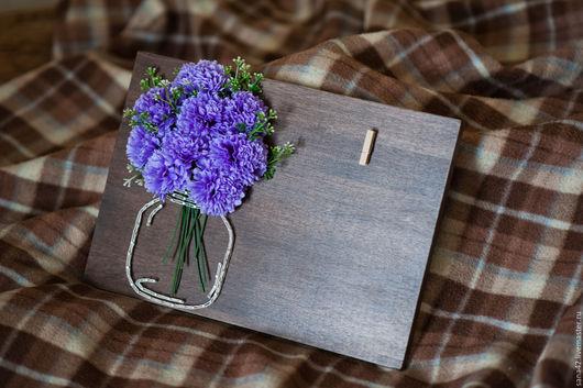"""Картины цветов ручной работы. Ярмарка Мастеров - ручная работа. Купить """"Банка с цветами"""" в технике String Art. Handmade. Фиолетовый"""