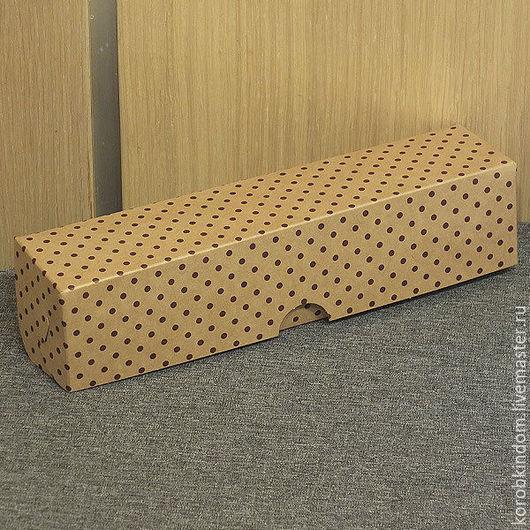 Упаковка ручной работы. Ярмарка Мастеров - ручная работа. Купить Коробка 22х5х5 крафт в горошек. Handmade. Коробочка, коробка подарочная