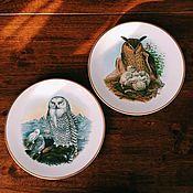 Винтажные предметы интерьера ручной работы. Ярмарка Мастеров - ручная работа английские коллекционные тарелки с совами Finsbury. Handmade.