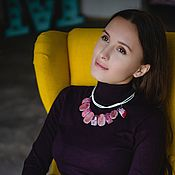 Украшения handmade. Livemaster - original item Necklace with red agate decoration on a leather cord.