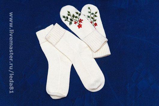 Носки, Чулки ручной работы. Ярмарка Мастеров - ручная работа. Купить носки розы на снегу. Handmade. Шерсть