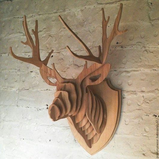 Статуэтки ручной работы. Ярмарка Мастеров - ручная работа. Купить Декоративная голова оленя (трофей). Handmade. Желтый, олень, интерьер