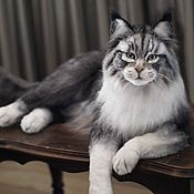Мягкие игрушки ручной работы. Ярмарка Мастеров - ручная работа Мейн-кун кот в стиле тедди натюр. Handmade.