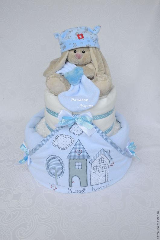 """Подарки для новорожденных, ручной работы. Ярмарка Мастеров - ручная работа. Купить Торт из памперсов """"Sweet Home"""". Handmade. Голубой"""