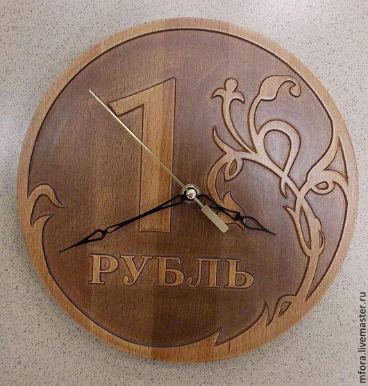 """Часы для дома ручной работы. Ярмарка Мастеров - ручная работа. Купить Часы """"Деревянный Рубль"""". Handmade. Коричневый, часы для дома"""