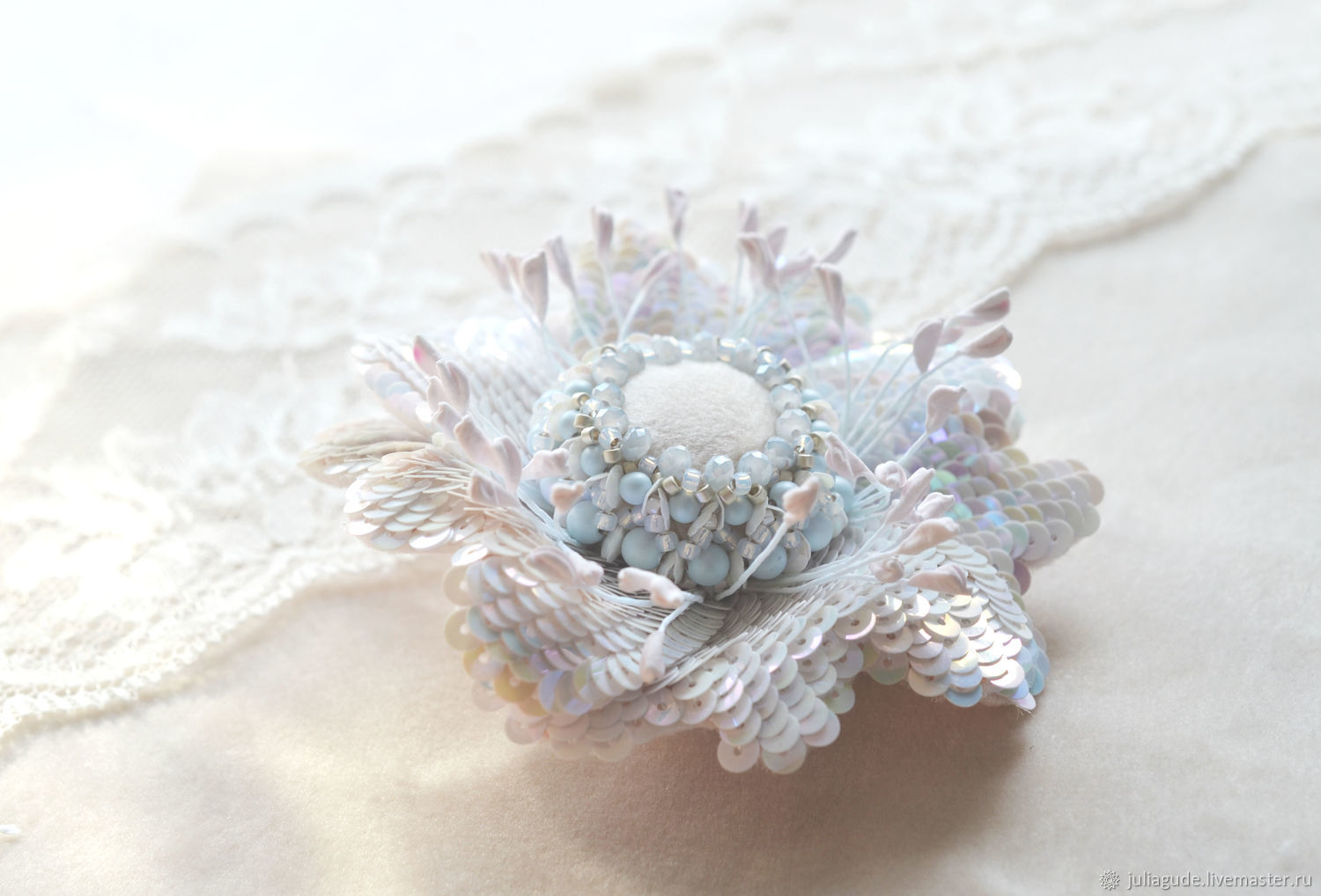 Brooch flower embroidered sequins, Brooches, King's Lynn,  Фото №1
