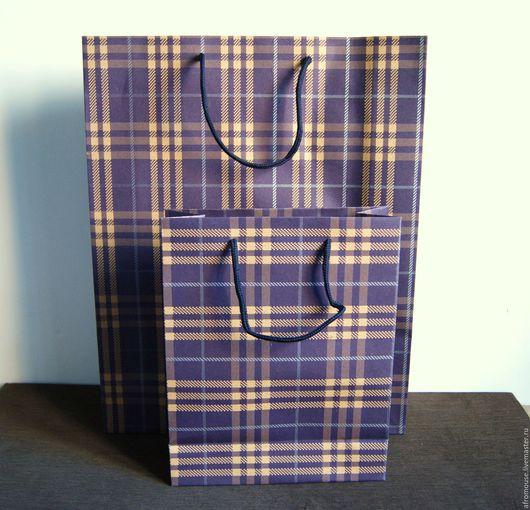 Пакет `Синяя клеточка` подарочный, крафт упаковочный