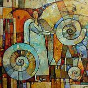 Картины и панно ручной работы. Ярмарка Мастеров - ручная работа Фантазийный сюжет с девушкой ангелом яркая картина - созидающая. Handmade.