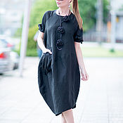 Одежда handmade. Livemaster - original item Dress linen with side pockets - DR0210LE. Handmade.