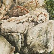 Картины и панно handmade. Livemaster - original item Sleeping lion, watercolor. Handmade.
