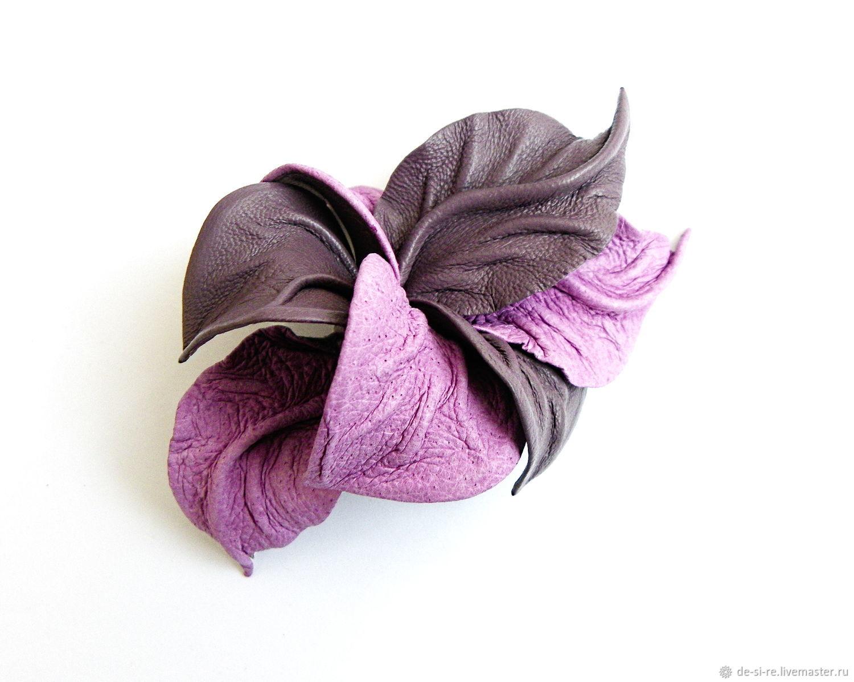 Брошь кожаная STORMY подарок лиловая фиолетовая серая – заказать на Ярмарке Мастеров – JZVLKRU | Брошь-булавка, Москва