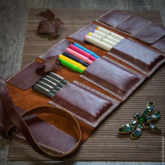 Пеналы ручной работы. Ярмарка Мастеров - ручная работа. Купить Пенал художника из натуральной кожи для ручек, карандашей, маркеров. Handmade.