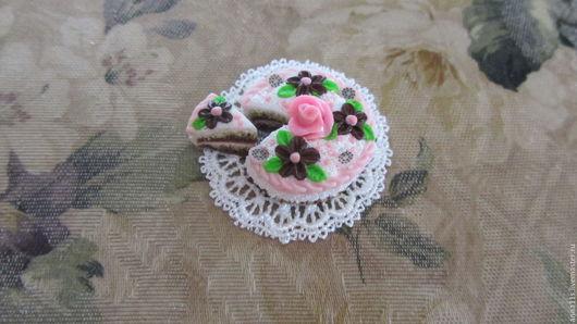 """Еда ручной работы. Ярмарка Мастеров - ручная работа. Купить Торт """"Праздничный"""". Handmade. Торт, миниатюра для кукол, еда для кукол"""