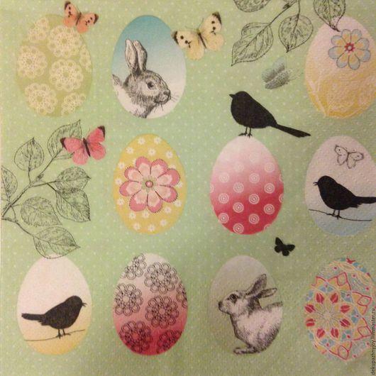 Салфетка для декупажа многоэлементная - ворон, заяц, бабочки Декупажная радость