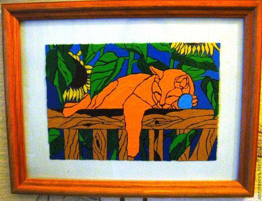 """картина """"Спящий кот"""", роспись по стеклу"""