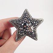 Украшения handmade. Livemaster - original item Brooch silver Star, embroidered with beads and pearls. Handmade.
