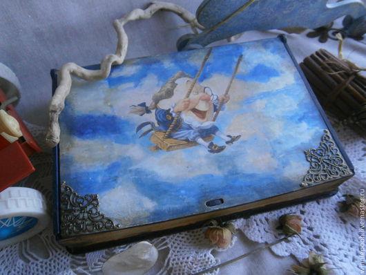 Шкатулки ручной работы. Ярмарка Мастеров - ручная работа. Купить Шкатулка Книга про Алису. Handmade. Синий, подарок, филигрань