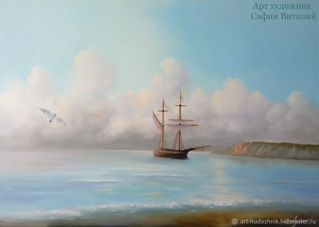 Морской пейзаж в нежных тонах картина Странник 2, Картины, Санкт-Петербург,  Фото №1