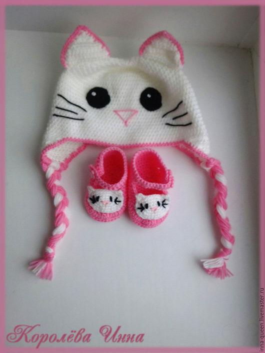 Шапки и шарфы ручной работы. Ярмарка Мастеров - ручная работа. Купить детская шапочка Hello Kitty. Handmade. Белый
