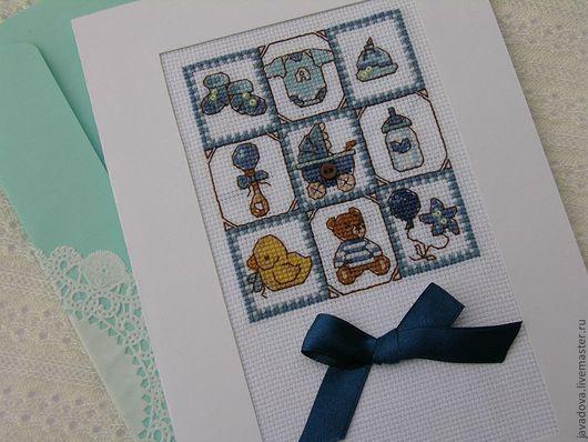Детские открытки ручной работы. Ярмарка Мастеров - ручная работа. Купить открытки для новорожденных. Handmade. Брусничный, мальчик, открытка с вышивкой