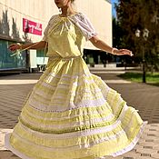 Одежда handmade. Livemaster - original item Summer dress, flying cotton and lace Provence, light yellow. Handmade.