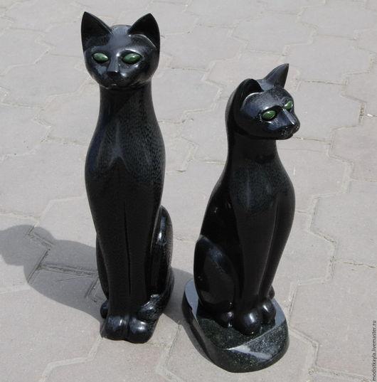 Статуэтки ручной работы. Ярмарка Мастеров - ручная работа. Купить Кошка большая интерьерная из гагата (И). Handmade. Черный