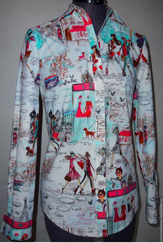 Блузки ручной работы. Ярмарка Мастеров - ручная работа. Купить Рубашка  RAINBOW clothes 03. Handmade. Комбинированный, рубашка, хлопок