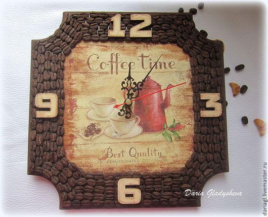 """Часы для дома ручной работы. Ярмарка Мастеров - ручная работа. Купить Часы """"Coffee Time"""" с кофейными зернами. Handmade. Коричневый"""