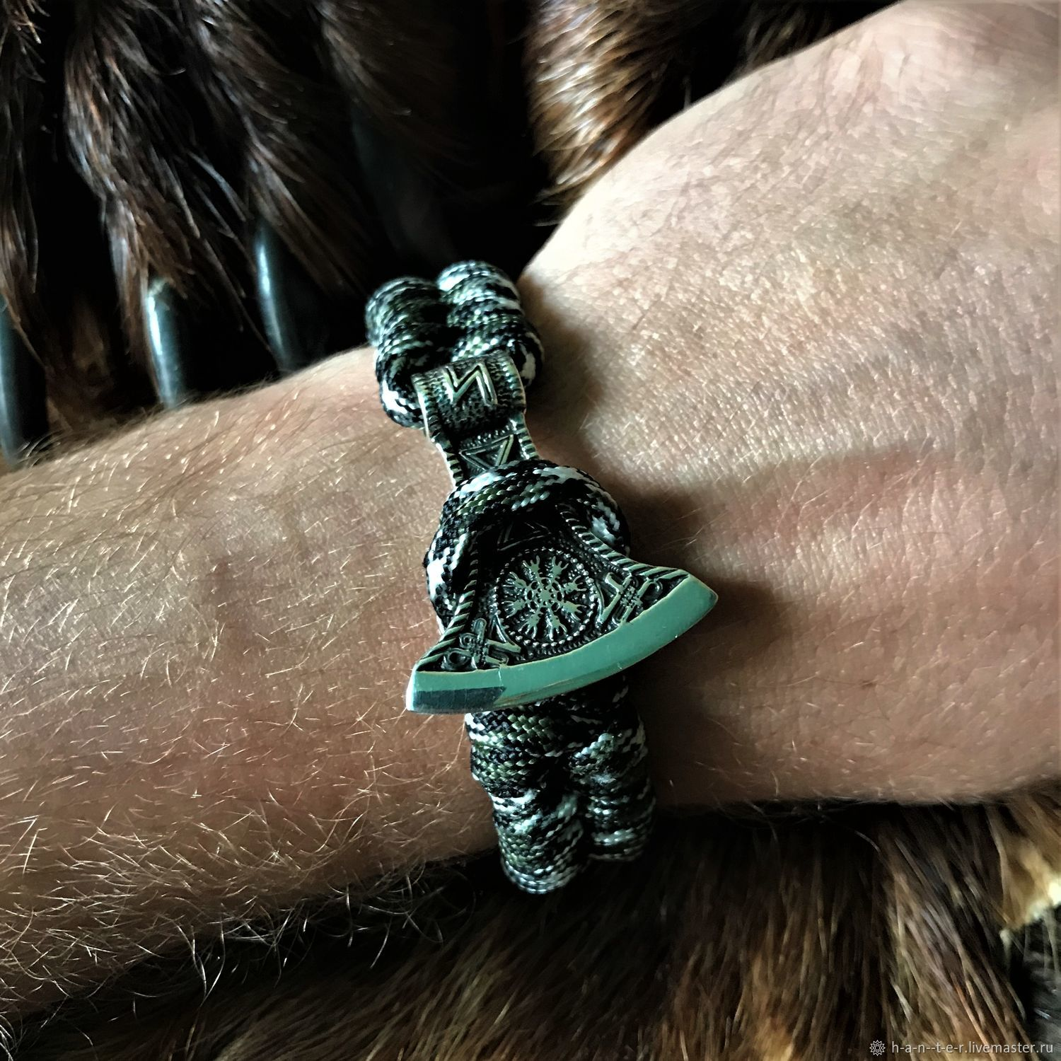 decoration: Paracord bracelet with silver axe, Subculture decorations, Kostroma,  Фото №1
