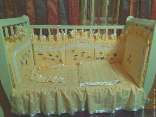 Детская ручной работы. Ярмарка Мастеров - ручная работа. Купить Постельное бельё для детей. Handmade. Новорожденному, в кроватку, подушка, сатин
