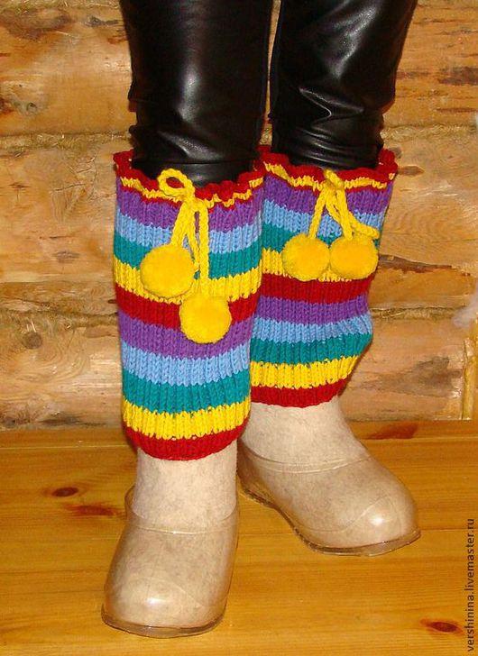 """Обувь ручной работы. Ярмарка Мастеров - ручная работа. Купить Валенки и снуд """"Резиновая полу-радуга"""" :). Handmade."""