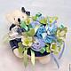 букет из детской одежды с мишкой синий для мальчика подарок маме необычный подарок на крестины на день рождения оригинальный подарок для новорожденного бэби-букет букет из детской одежды голубой синий