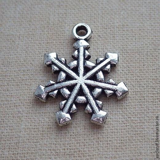 Для украшений ручной работы. Ярмарка Мастеров - ручная работа. Купить Подвеска для кулона снежинка (античное серебро). Handmade. Подвеска