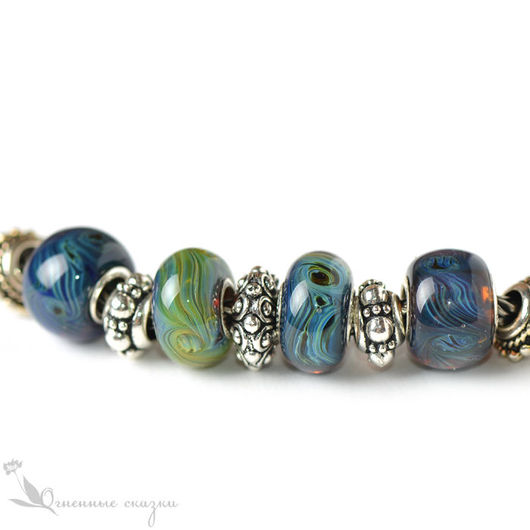 Бусины из стекла с серебром для браслета. Подходят для основ Biagi, Chamilia, Troll. Синий, зеленый, голубой, ультрамарин, шармы, муранское стекло, подарок девушке, женщине, подруге, сестре, на др нг