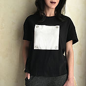 Одежда handmade. Livemaster - original item T-shirt free black white pocket. Handmade.