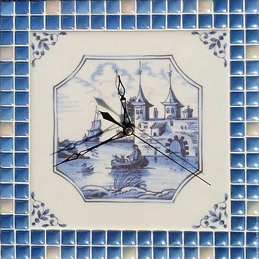 """Для дома и интерьера ручной работы. Ярмарка Мастеров - ручная работа Часы с мозаикой """"Английский делфт 2"""". Handmade."""