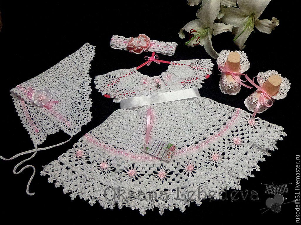 Набор: скатерть и 6 салфеток (вязание на спицах)