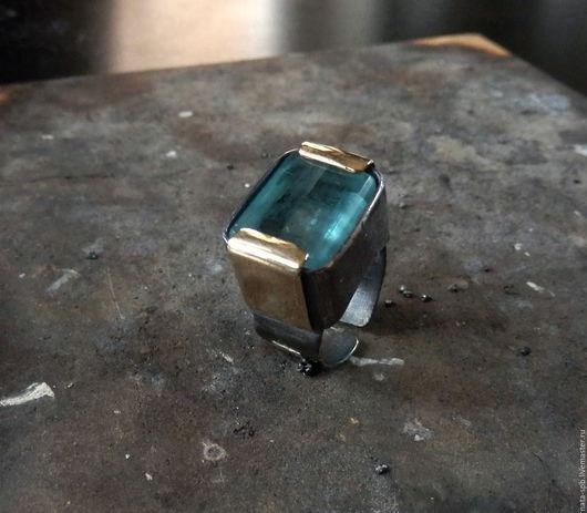Кольца ручной работы. Ярмарка Мастеров - ручная работа. Купить AQUARIUM кольцо (аквамарин, серебро 925, латунь, золото 585). Handmade.