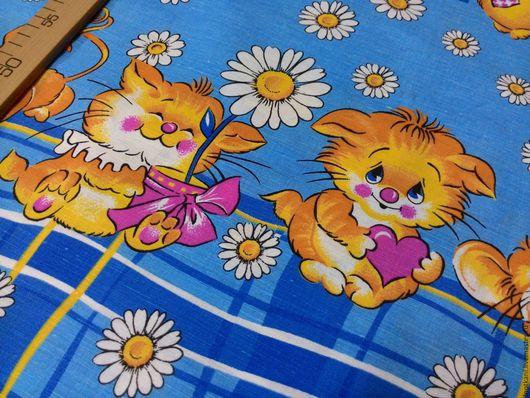 Шитье ручной работы. Ярмарка Мастеров - ручная работа. Купить Ткань льняная с детским рисунком. Handmade. Лён натуральный