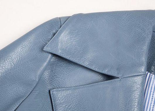"""Верхняя одежда ручной работы. Ярмарка Мастеров - ручная работа. Купить Тренч """"голубая сталь"""". Handmade. Голубой, пальто из кожи"""